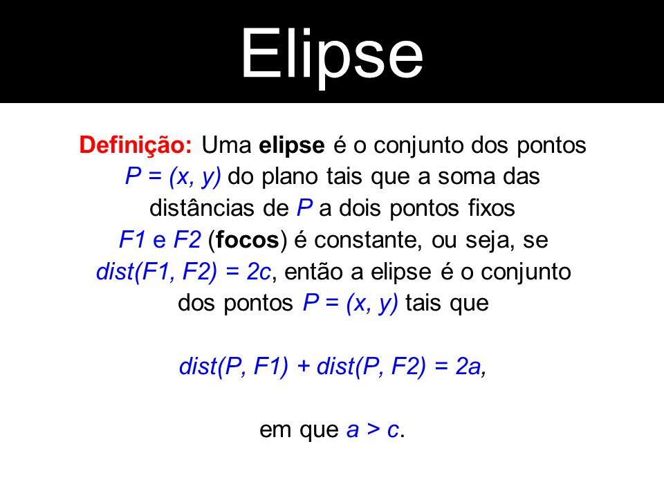Definição: Uma elipse é o conjunto dos pontos P = (x, y) do plano tais que a soma das distâncias de P a dois pontos fixos F1 e F2 (focos) é constante,