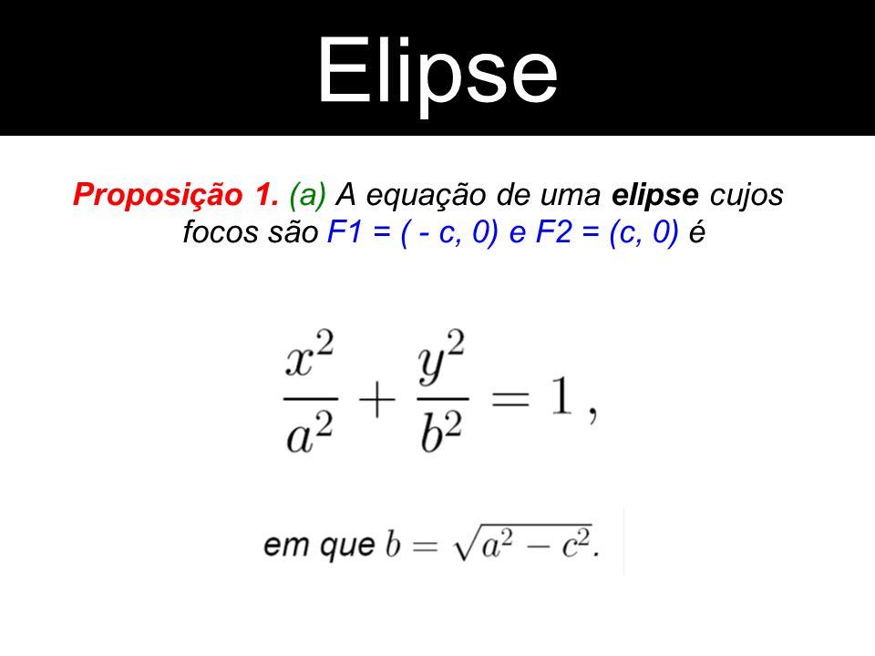 Proposição 1. (a) A equação de uma elipse cujos focos são F1 = ( - c, 0) e F2 = (c, 0) é Elipse