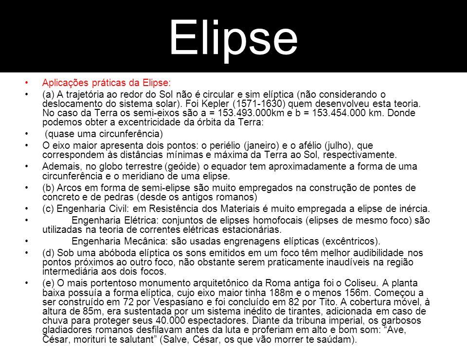 Parábola Aplicações práticas da Elipse: (a) A trajetória ao redor do Sol não é circular e sim elíptica (não considerando o deslocamento do sistema sol