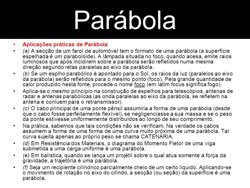 Aplicações práticas de Parábola (a) A secção de um farol de automóvel tem o formato de uma parábola (a superfície espelhada é um parabolóide). A lâmpa