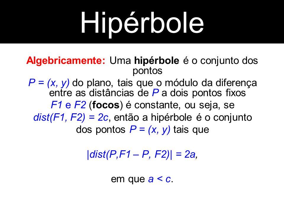 Algebricamente: Uma hipérbole é o conjunto dos pontos P = (x, y) do plano, tais que o módulo da diferença entre as distâncias de P a dois pontos fixos