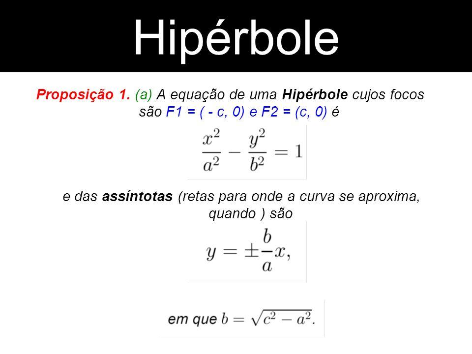 Proposição 1. (a) A equação de uma Hipérbole cujos focos são F1 = ( - c, 0) e F2 = (c, 0) é e das assíntotas (retas para onde a curva se aproxima, qua