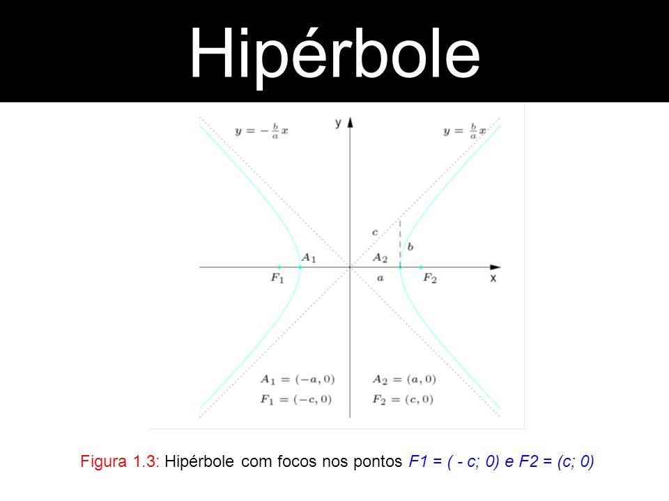 Figura 1.3: Hipérbole com focos nos pontos F1 = ( - c; 0) e F2 = (c; 0) Hipérbole