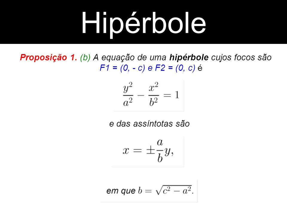 Proposição 1. (b) A equação de uma hipérbole cujos focos são F1 = (0, - c) e F2 = (0, c) é e das assíntotas são Hipérbole