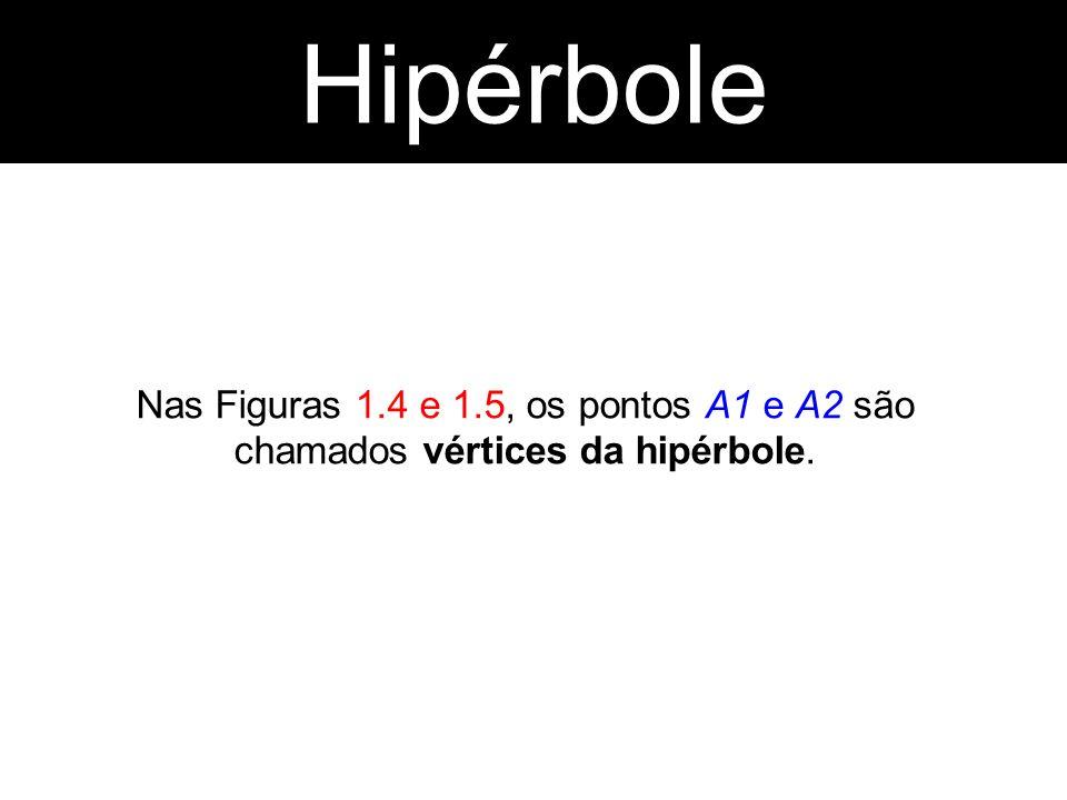 Nas Figuras 1.4 e 1.5, os pontos A1 e A2 são chamados vértices da hipérbole. Hipérbole