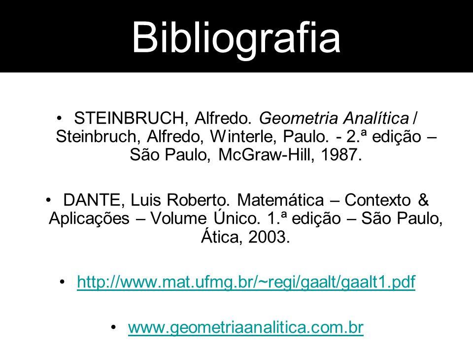 Bibliografia STEINBRUCH, Alfredo. Geometria Analítica / Steinbruch, Alfredo, Winterle, Paulo. - 2.ª edição – São Paulo, McGraw-Hill, 1987. DANTE, Luis