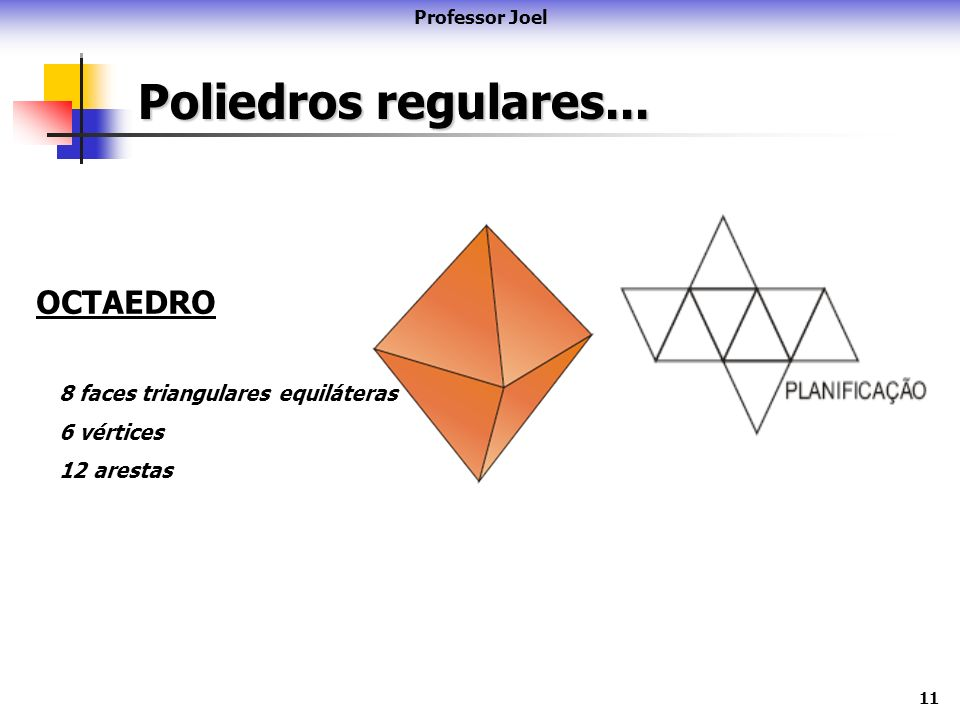 11 Poliedros regulares... Professor Joel OCTAEDRO 8 faces triangulares equiláteras 6 vértices 12 arestas