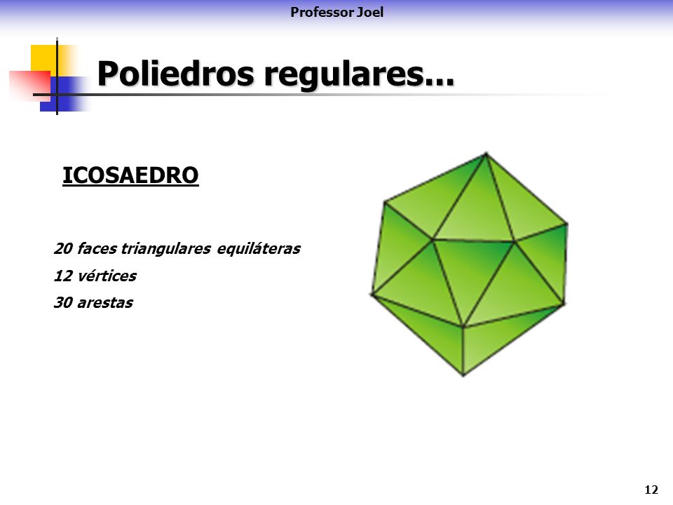 12 Poliedros regulares... Professor Joel ICOSAEDRO 20 faces triangulares equiláteras 12 vértices 30 arestas
