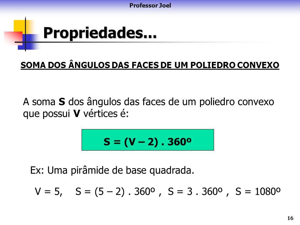 16 Propriedades... Professor Joel SOMA DOS ÂNGULOS DAS FACES DE UM POLIEDRO CONVEXO A soma S dos ângulos das faces de um poliedro convexo que possui V