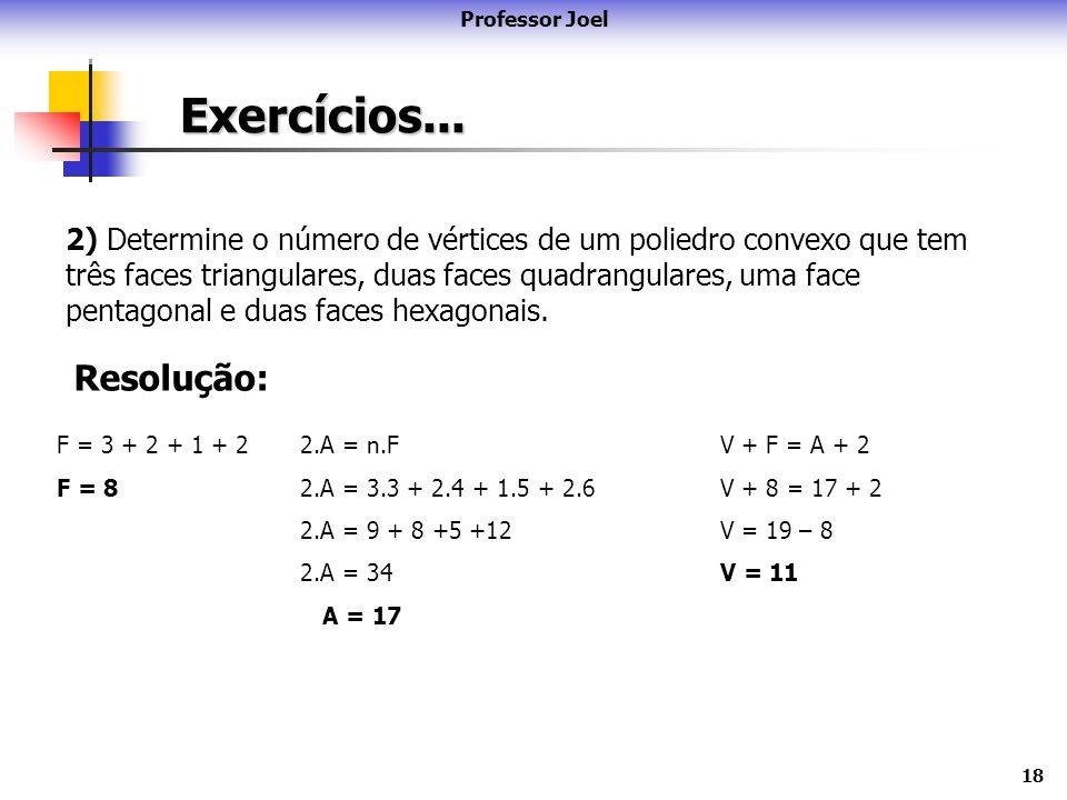 18 Exercícios... Professor Joel 2) Determine o número de vértices de um poliedro convexo que tem três faces triangulares, duas faces quadrangulares, u