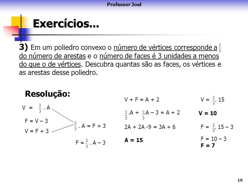 19Exercícios... Professor Joel 3) Em um poliedro convexo o número de vértices corresponde a do número de arestas e o número de faces é 3 unidades a me