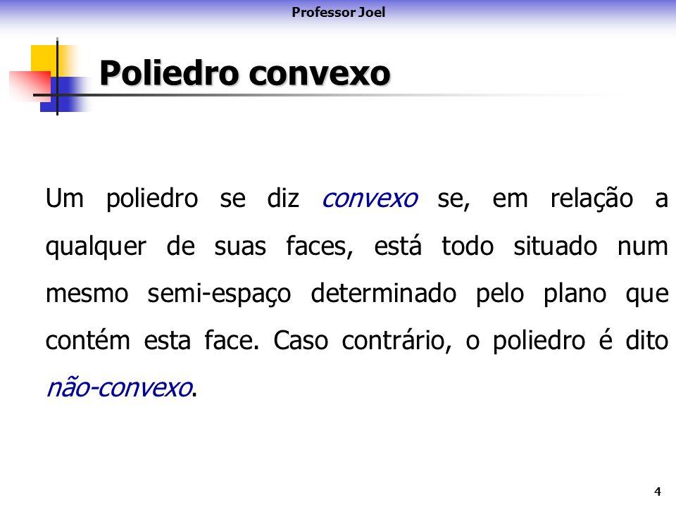 4 Poliedro convexo Um poliedro se diz convexo se, em relação a qualquer de suas faces, está todo situado num mesmo semi-espaço determinado pelo plano