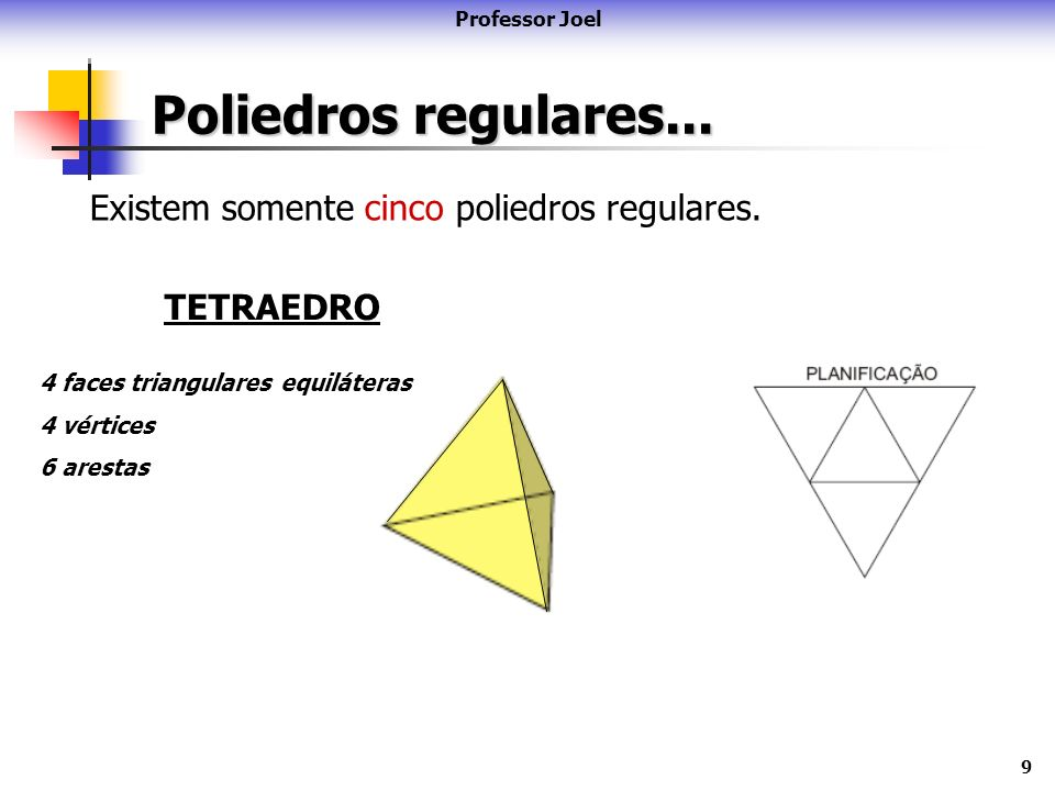 9 Poliedros regulares... Professor Joel Existem somente cinco poliedros regulares. TETRAEDRO 4 faces triangulares equiláteras 4 vértices 6 arestas