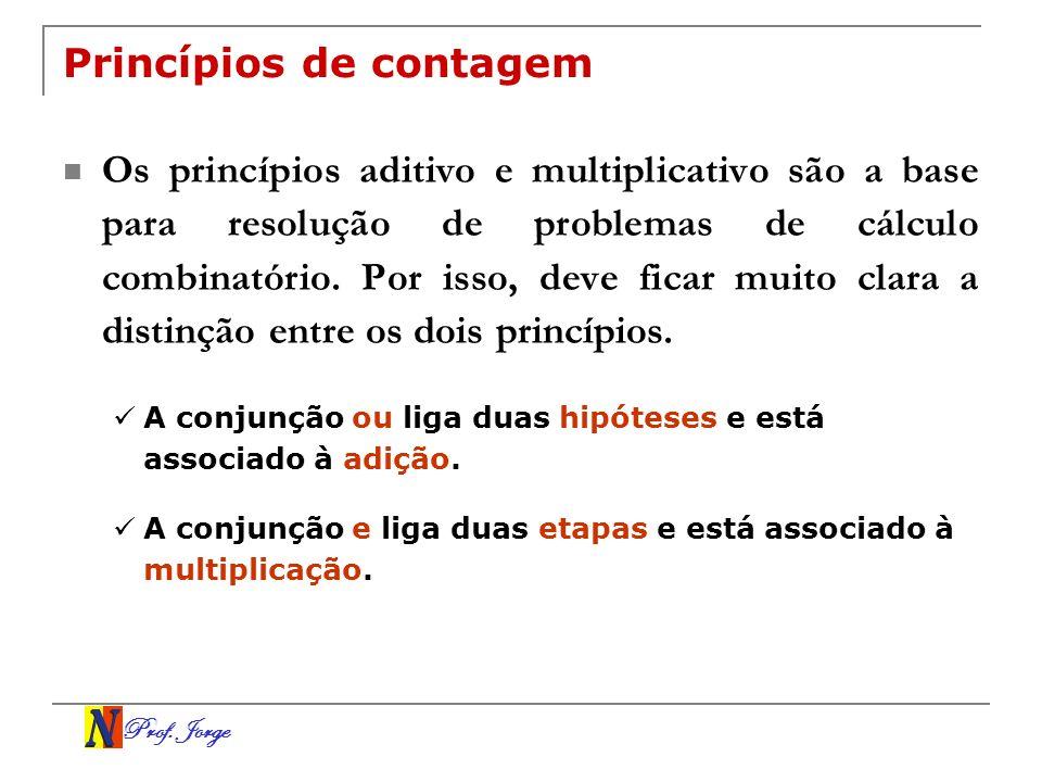 Prof. Jorge Princípios de contagem Os princípios aditivo e multiplicativo são a base para resolução de problemas de cálculo combinatório. Por isso, de