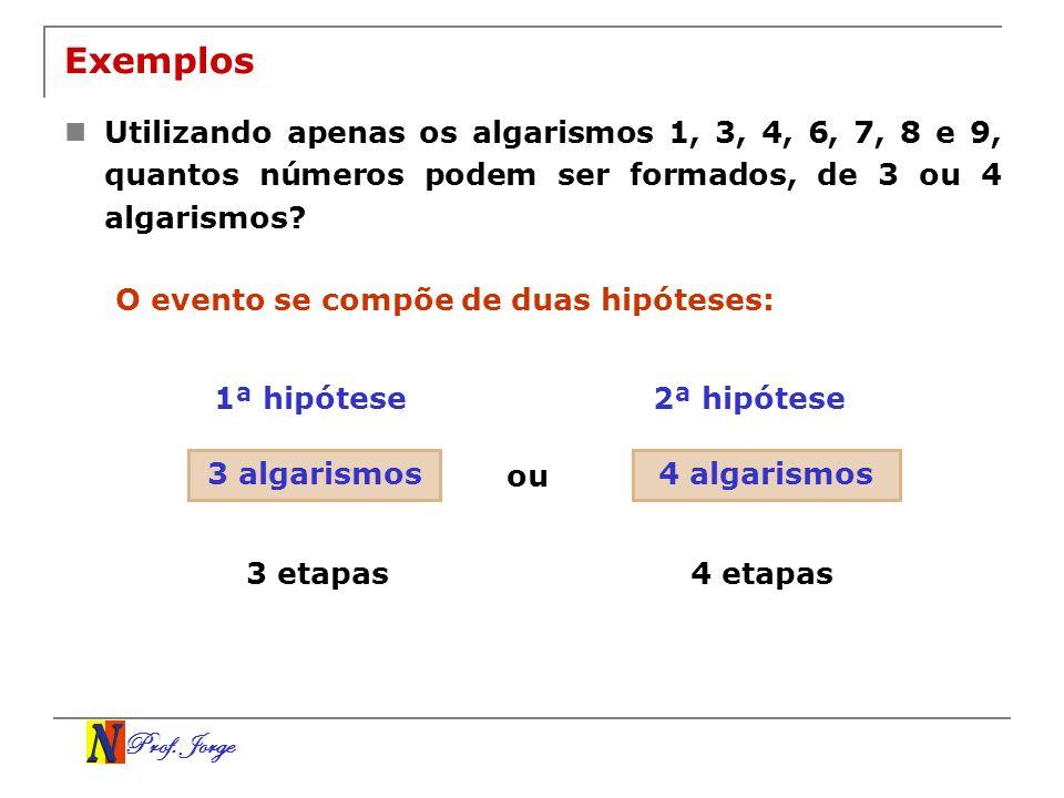 Prof. Jorge Exemplos Utilizando apenas os algarismos 1, 3, 4, 6, 7, 8 e 9, quantos números podem ser formados, de 3 ou 4 algarismos? O evento se compõ
