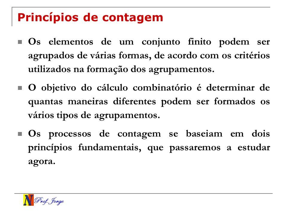 Prof. Jorge Princípios de contagem Os elementos de um conjunto finito podem ser agrupados de várias formas, de acordo com os critérios utilizados na f