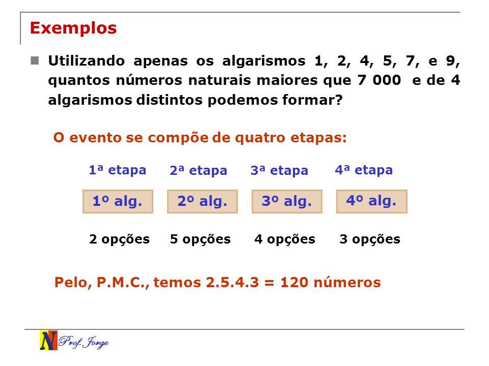 Prof. Jorge Exemplos Utilizando apenas os algarismos 1, 2, 4, 5, 7, e 9, quantos números naturais maiores que 7 000 e de 4 algarismos distintos podemo