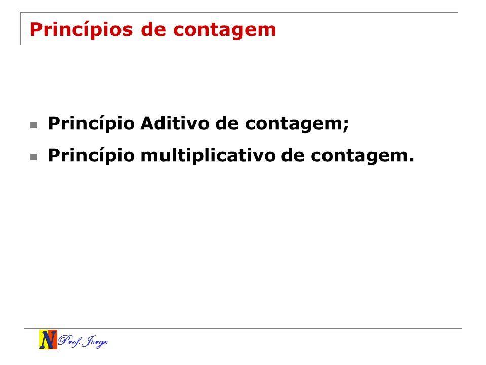 Prof. Jorge Princípios de contagem Princípio Aditivo de contagem; Princípio multiplicativo de contagem.