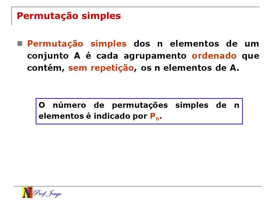 Prof. Jorge Permutação simples Permutação simples dos n elementos de um conjunto A é cada agrupamento ordenado que contém, sem repetição, os n element