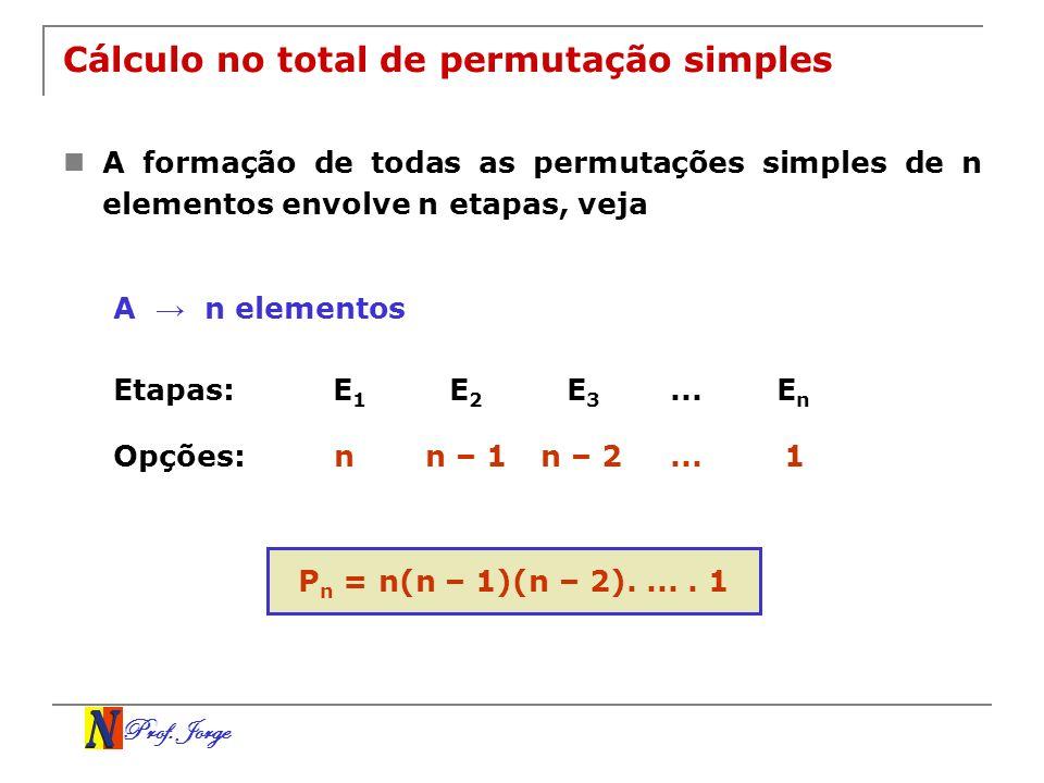 Prof. Jorge Cálculo no total de permutação simples A formação de todas as permutações simples de n elementos envolve n etapas, veja A n elementos Etap
