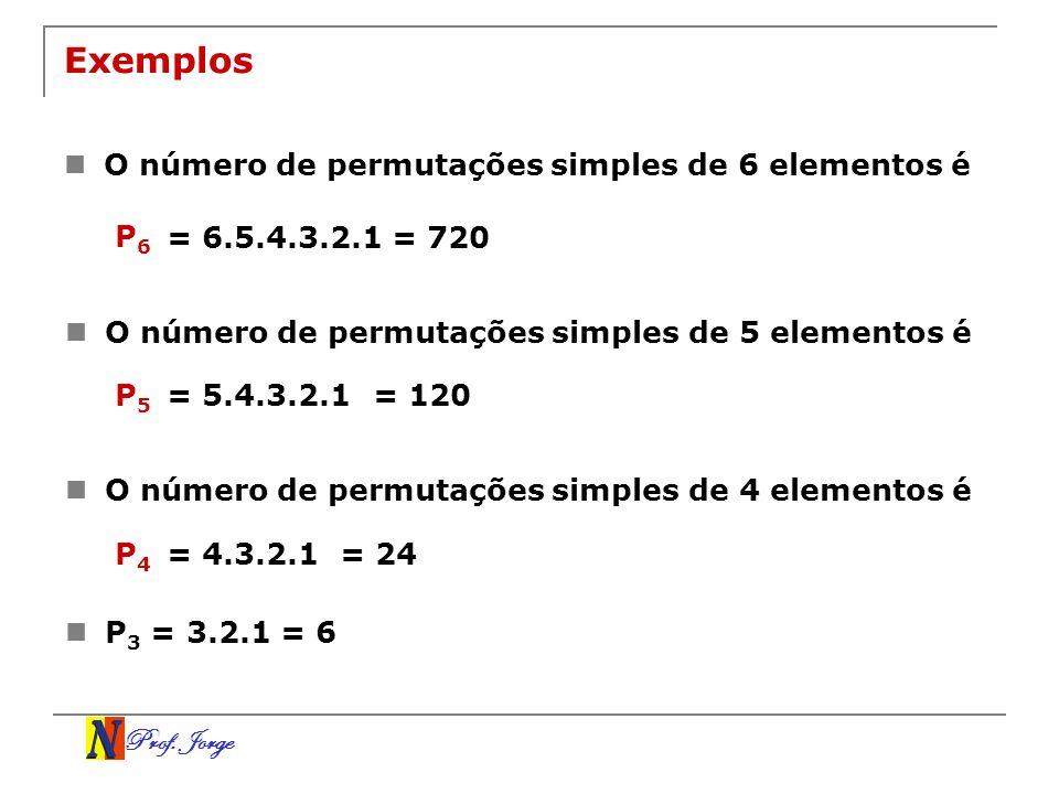 Prof. Jorge Exemplos O número de permutações simples de 6 elementos é P 6 = 6.5.4.3.2.1= 720 O número de permutações simples de 5 elementos é P 5 = 5.