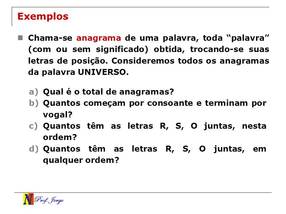 Prof. Jorge Exemplos Chama-se anagrama de uma palavra, toda palavra (com ou sem significado) obtida, trocando-se suas letras de posição. Consideremos