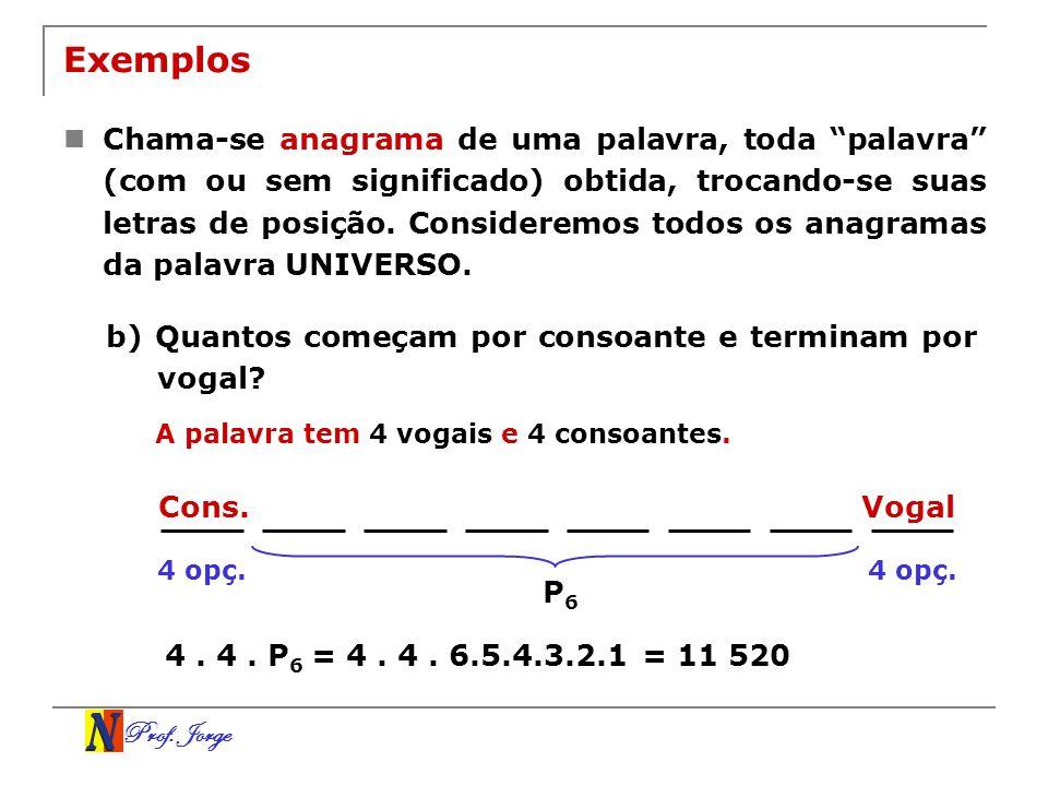Prof. Jorge VogalCons. Exemplos Chama-se anagrama de uma palavra, toda palavra (com ou sem significado) obtida, trocando-se suas letras de posição. Co
