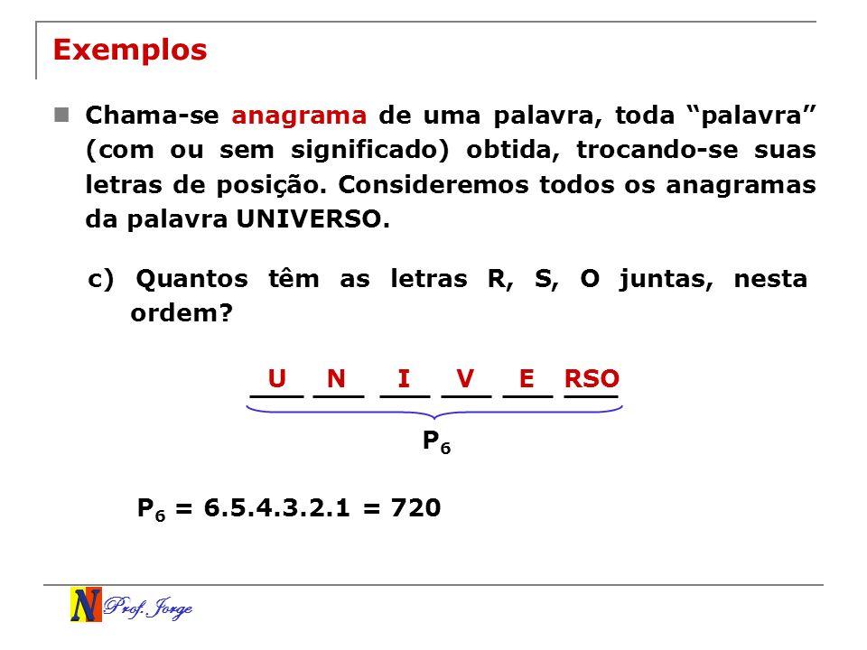 Prof. Jorge URSONIVE Exemplos Chama-se anagrama de uma palavra, toda palavra (com ou sem significado) obtida, trocando-se suas letras de posição. Cons