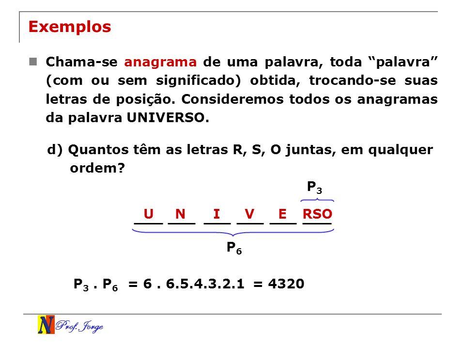Prof. Jorge URSONIVE P3P3 Exemplos Chama-se anagrama de uma palavra, toda palavra (com ou sem significado) obtida, trocando-se suas letras de posição.