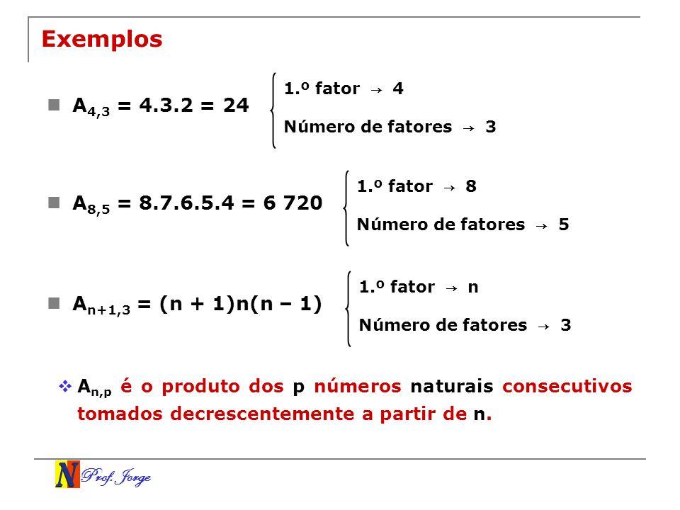Prof. Jorge Exemplos A 4,3 = 4.3.2 = 24 1.º fator 4 Número de fatores 3 A 8,5 = 8.7.6.5.4 = 6 720 1.º fator 8 Número de fatores 5 A n+1,3 = (n + 1)n(n