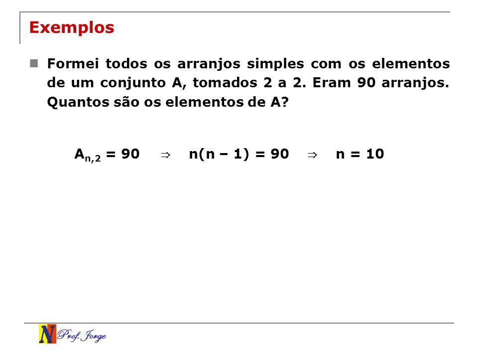 Prof. Jorge Exemplos Formei todos os arranjos simples com os elementos de um conjunto A, tomados 2 a 2. Eram 90 arranjos. Quantos são os elementos de