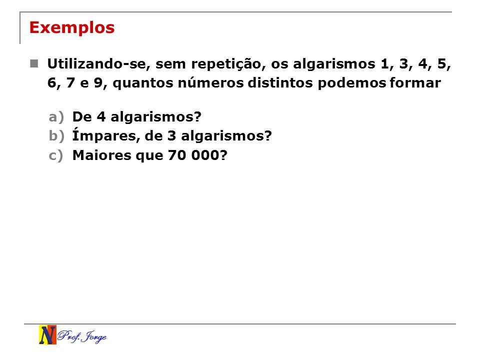 Prof. Jorge Exemplos Utilizando-se, sem repetição, os algarismos 1, 3, 4, 5, 6, 7 e 9, quantos números distintos podemos formar a)De 4 algarismos? b)Í