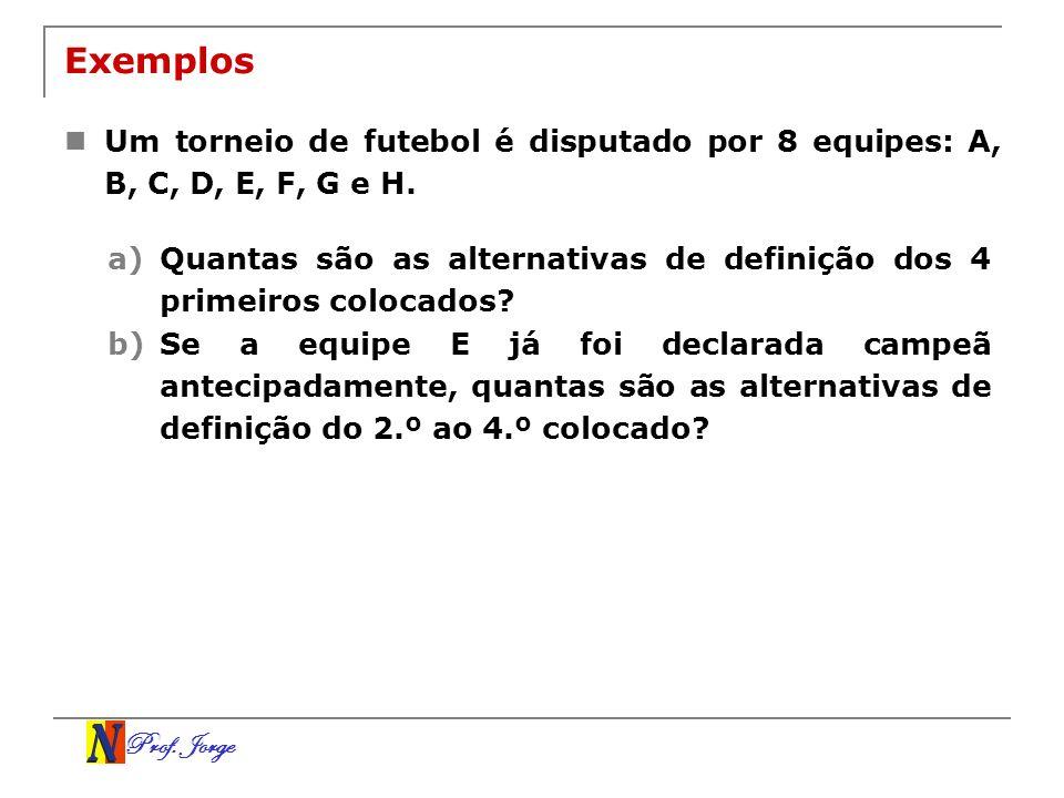 Prof. Jorge Exemplos Um torneio de futebol é disputado por 8 equipes: A, B, C, D, E, F, G e H. a)Quantas são as alternativas de definição dos 4 primei