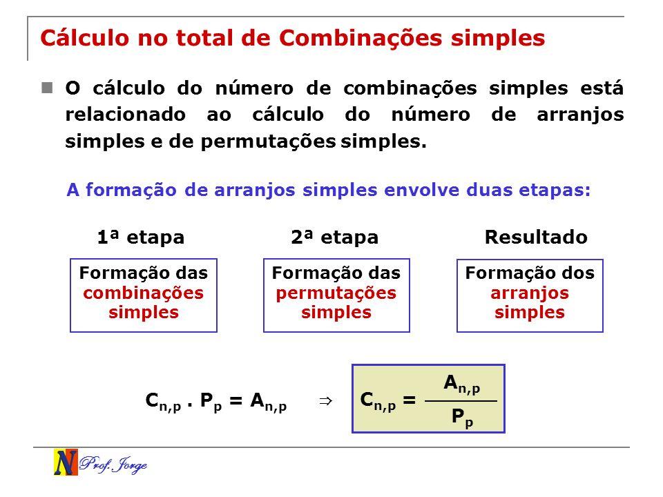 Prof. Jorge Cálculo no total de Combinações simples O cálculo do número de combinações simples está relacionado ao cálculo do número de arranjos simpl