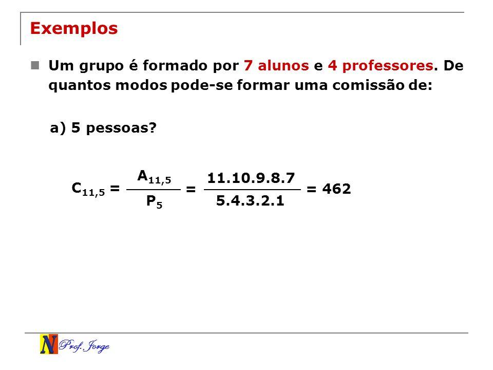 Prof. Jorge 11.10.9.8.7 5.4.3.2.1 A 11,5 P 5 Exemplos Um grupo é formado por 7 alunos e 4 professores. De quantos modos pode-se formar uma comissão de