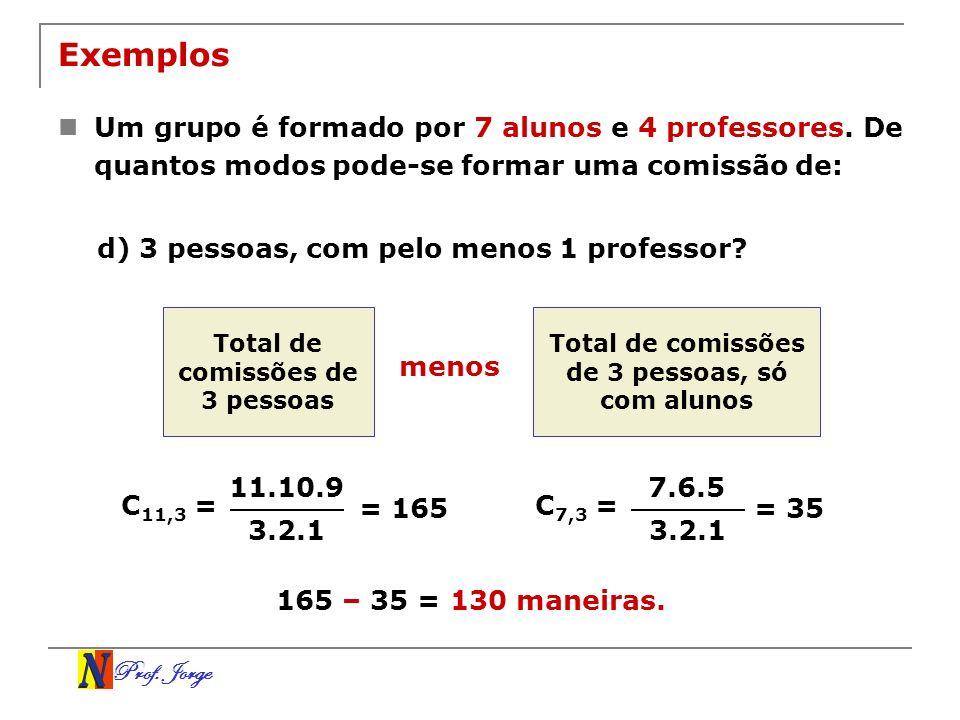 Prof. Jorge Exemplos Um grupo é formado por 7 alunos e 4 professores. De quantos modos pode-se formar uma comissão de: d) 3 pessoas, com pelo menos 1