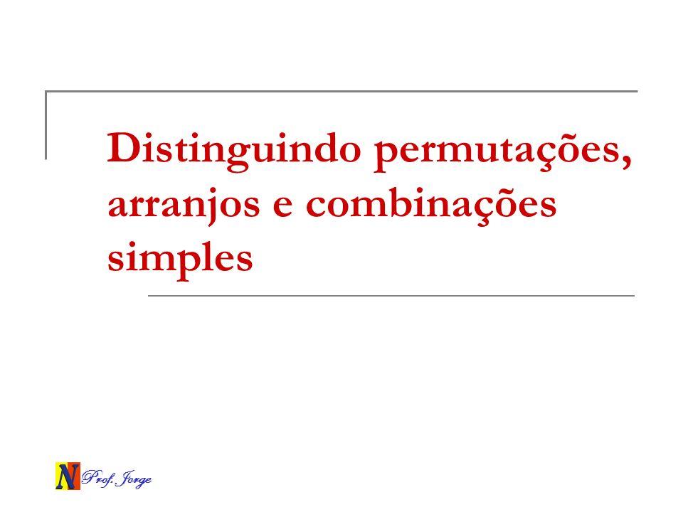 Prof. Jorge Distinguindo permutações, arranjos e combinações simples