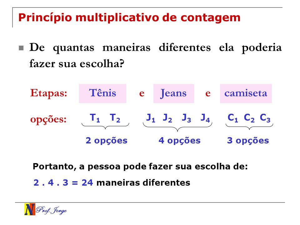 Prof. Jorge Princípio multiplicativo de contagem De quantas maneiras diferentes ela poderia fazer sua escolha? Etapas: opções: TênisJeanscamisetaee T