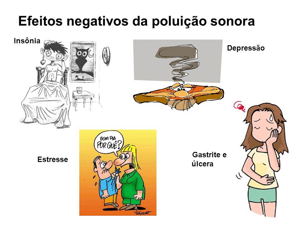 Efeitos negativos da poluição sonora Insônia Estresse Depressão Gastrite e úlcera