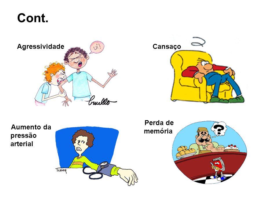 Cont. Aumento da pressão arterial Agressividade Perda de memória Cansaço
