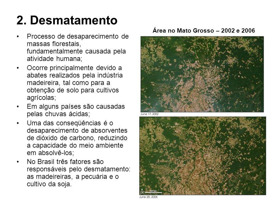 2. Desmatamento Processo de desaparecimento de massas florestais, fundamentalmente causada pela atividade humana; Ocorre principalmente devido a abate