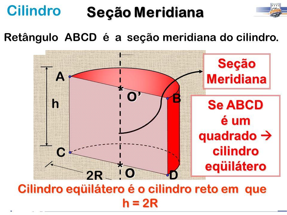 Cilindro Retângulo ABCD é a seção meridiana do cilindro. 2R SeçãoMeridiana A B C D O* O* h Se ABCD é um quadrado cilindro eqüilátero Cilindro eqüiláte