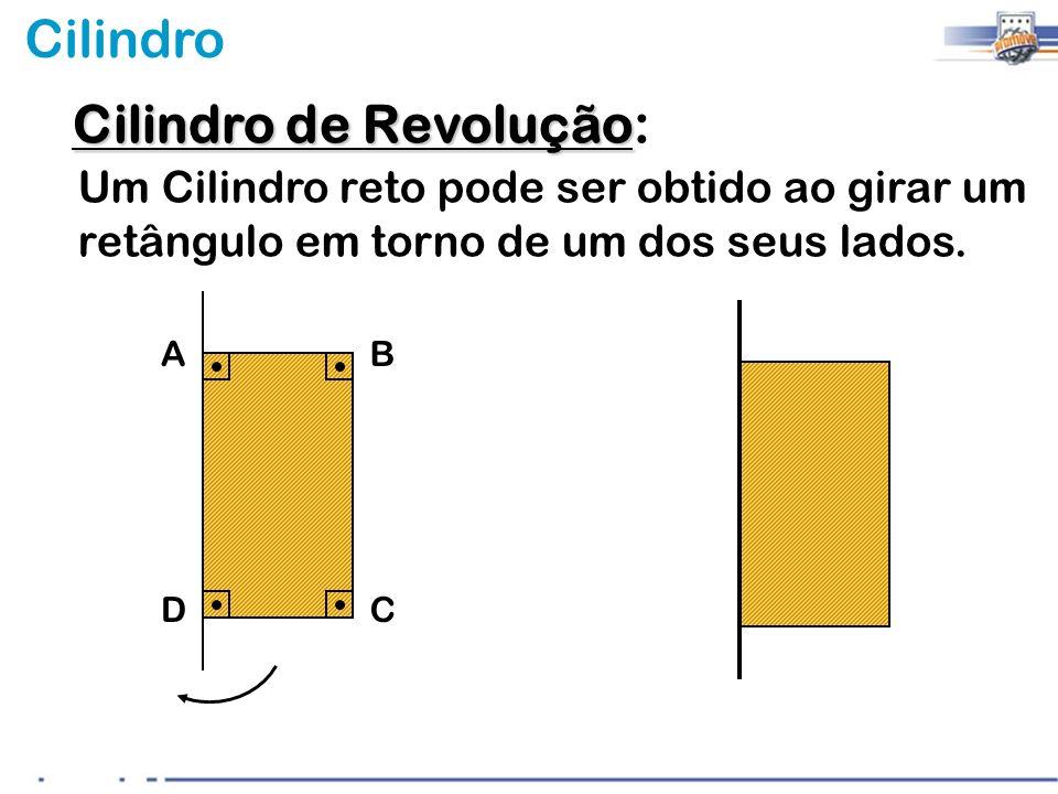 Cilindro AB DC Cilindro de Revolução Cilindro de Revolução: Um Cilindro reto pode ser obtido ao girar um retângulo em torno de um dos seus lados.