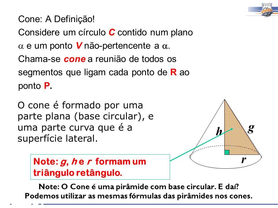 Note: O Cone é uma pirâmide com base circular. E daí? Podemos utilizar as mesmas fórmulas das pirâmides nos cones. Cone: A Definição! Considere um cír