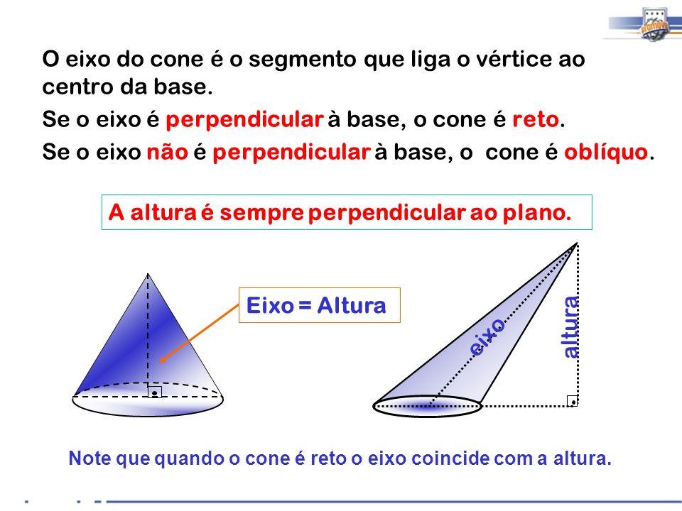 Note que quando o cone é reto o eixo coincide com a altura. O eixo do cone é o segmento que liga o vértice ao centro da base. Se o eixo é perpendicula