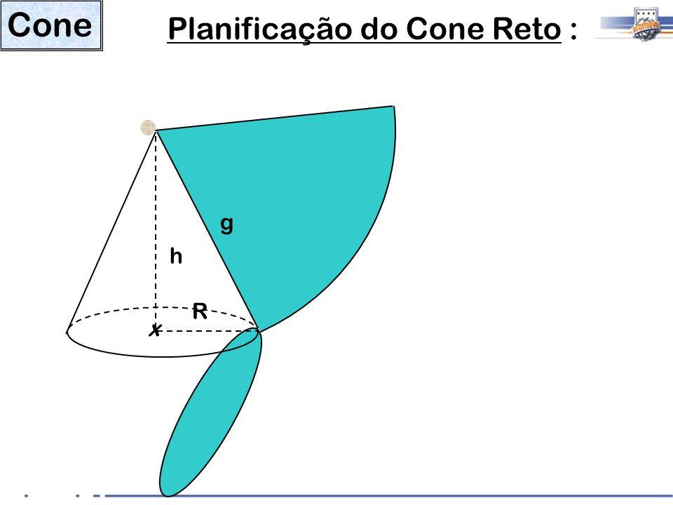 Cone Planificação do Cone Reto : x h g R