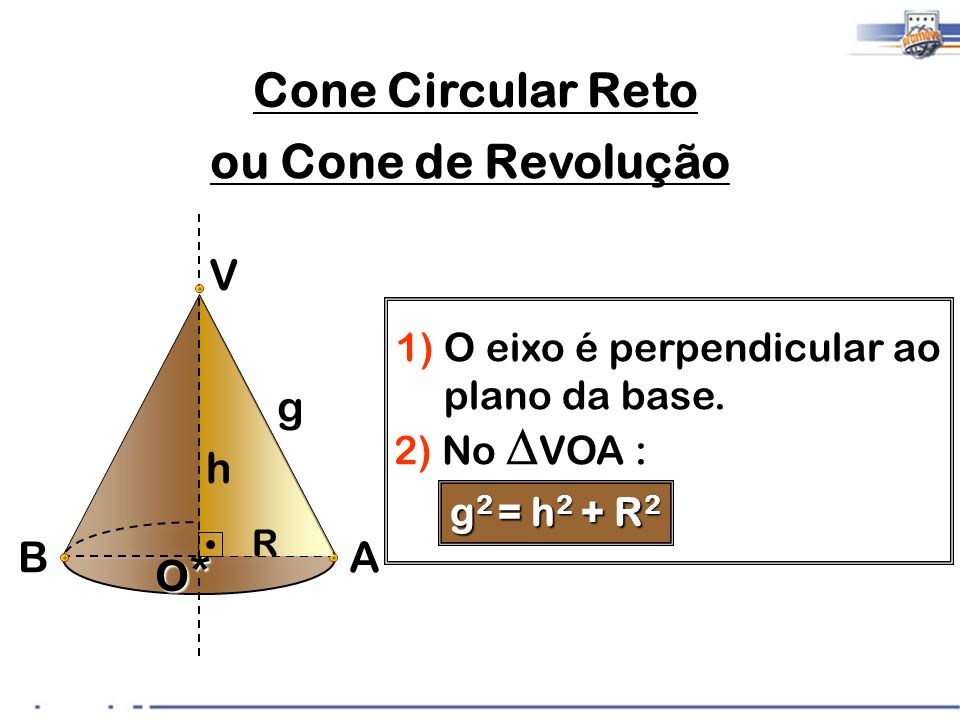 4) Cone de Revolução: Um cone reto pode ser obtido ao girar um retângulo em torno de um dos seus lados.