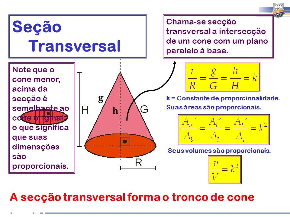 A secção transversal forma o tronco de cone Chama-se secção transversal a intersecção de um cone com um plano paralelo à base. Seção Transversal Suas