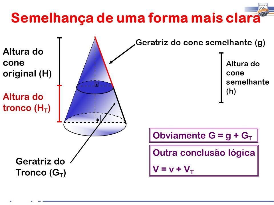 Semelhança de uma forma mais clara Altura do tronco (H T ) Altura do cone original (H) Altura do cone semelhante (h) Geratriz do Tronco (G T ) Geratri