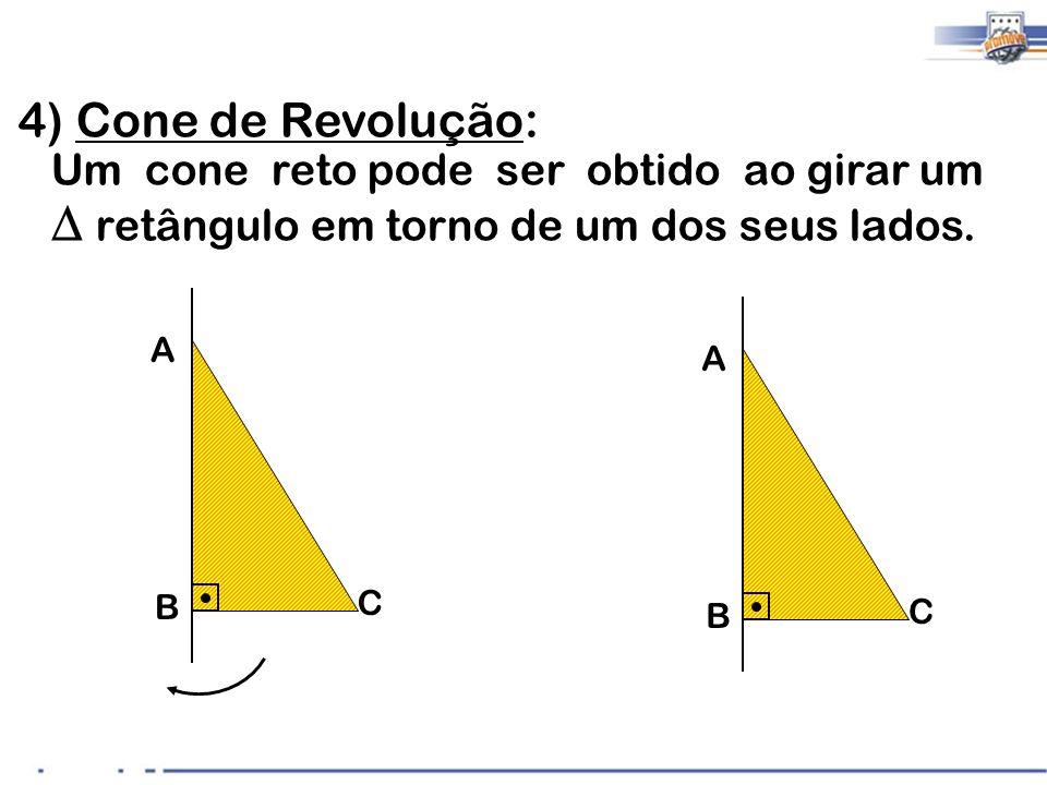 4) Cone de Revolução: Um cone reto pode ser obtido ao girar um retângulo em torno de um dos seus lados. A B C A B C